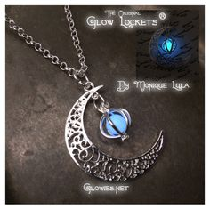 Crescent Moon with Blue Glow in the dark Orb Necklace