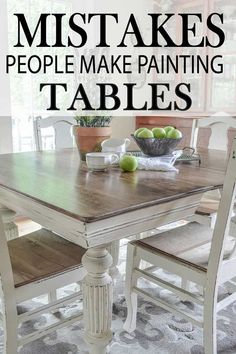 Common Mistakes Made Painting Kitchen Tables Learn how to paint your kitchen table correctly, by learning how to avoid these major mistakes!Learn how to paint your kitchen table correctly, by learning how to avoid these major mistakes! Refinishing Kitchen Tables, Painted Kitchen Tables, Kitchen Table Makeover, Diy Kitchen Decor, Kitchen Paint, Refurbished Kitchen Tables, Painted Farmhouse Table, Round Farmhouse Table, Dining Table Makeover