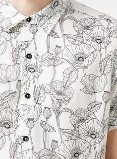 Poppy Print Monochrome Short Sleeve Shirt