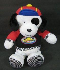 """White Black PUPPY DOG Lovey NASCAR Plush 12"""" Stuffed Animal Toy B162"""