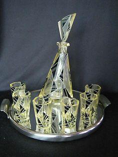 Exceptional Highly Stylized Czech Art Deco Karel Palda Geometric Decanter Set | eBay