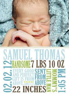 21 fresh designs for your baby's birth announcement   Baby birth ...