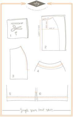 single-seam-skirt-tutorial (Pencil skirt)  http://melissaesplin.com/2012/06/single-seam-knit-pencil-skirt-tutorial/