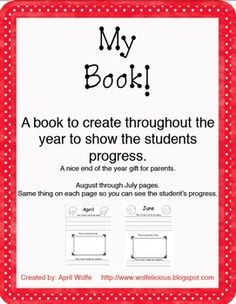 A Book to create throughout the year.  One page for each  month.August-July2 PDFs. (1 PDF that has a picture on the page and 1 PDF with no pi...