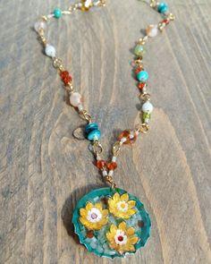 #lillies #boho #resin #bottlecap # glass beaded #necklace