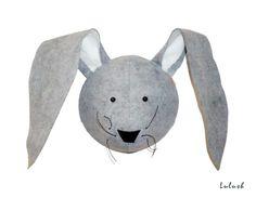 Wool Felt Rabbit Hare Bunny Head Wall Mount Children's by lulush