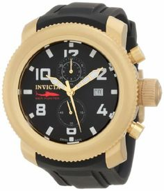 Invicta Men's 1860 Russian Diver Chronograph Black Dial Black Polyurethane Watch Invicta. $358.50. Chronograph functions with 60 second, 30 minute and 12 hour subdials; date function at 3:00. Flame-fusion crystal; matte 18k gold ion-plated stainless steel case; black polyurethane strap. Black dial with gold tone and white hands, white hour markers and Arabic numerals; luminous. Water-resistant to 100 M (330 feet). Swiss quartz movement
