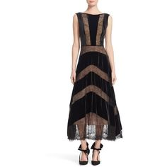 Women's Tracy Reese Lace & Velvet Combo Midi Dress ($299) ❤ liked on Polyvore featuring dresses, black, party dresses, midi cocktail dress, lace party dresses, midi dress and holiday party dresses