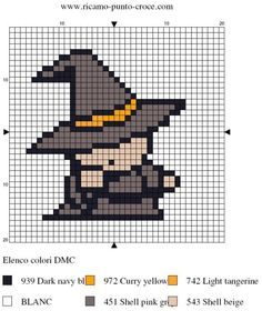halloween - sorcière - point de croix - cross stitch - Blog : http://broderiemimie44.canalblog.com/