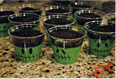 Frankenstein Pudding cup!  Take small clear plastic cups, mixed 3 boxes of  vanilla pudding and added green food coloring, drew frankenstein faces on the cups and added crushed oreo's on top for the hair!  Super easy fun for kids or parties and fast to make!