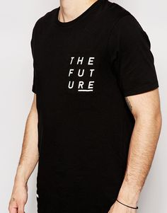 image 3 of asos longline t shirt with typographic text patches