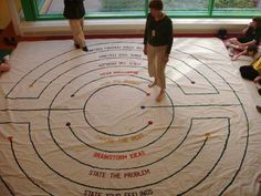 labyrinth style 2.  Painted in concrete with words for conflict resolution; just a maze for kids