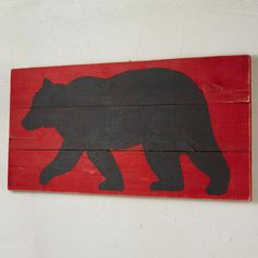 24x48 Black Bear on Red Wood Wall Painting