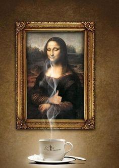 Even Mona Lisa loves coffee
