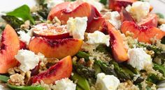 Barbecued asparagus salad with spinach, quinoa, goat's cheese & peaches