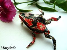 Origami Frog Brooch Black Frog Animal Brooch  Washi by MarysaArt