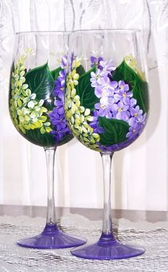 Purple and Yellow Lilacs Wine Glasses, Artfire