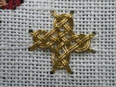 Hardanger Embroidery Ideas Diagonal Four-sided Interlacing Stitch - Goldwork by Carol-Anne Conway Viking Embroidery, Hardanger Embroidery, Gold Embroidery, Embroidery Applique, Cross Stitch Embroidery, Embroidery Designs, Needlepoint Stitches, Needlework, Celtic Cross Stitch