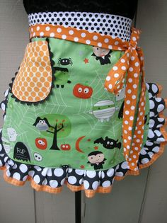Halloween Aprons  Aprons  Womens Half Apron  by AnniesAttic, $28.95