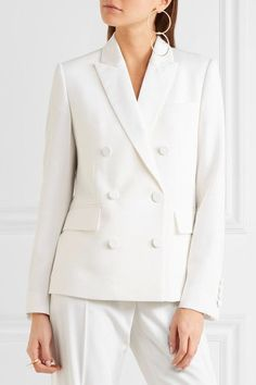 Stella McCartney - Double-breasted Wool-twill Blazer - Ivory - IT46