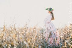 Fine art Maternity photography by:Heather Essian  Film inspired, Flower crown, expecting mother