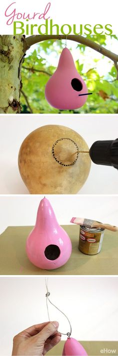 These colorful gourd birdhouses liven up a backyard and provide a welcome resting stop for the birds. It's so easy to make, you won't have to buy one ever again: http://www.ehow.com/how_5204572_make-gourd-birdhouses.html?utm_source=pinterest.com&utm_medium=referral&utm_content=freestyle&utm_campaign=fanpage