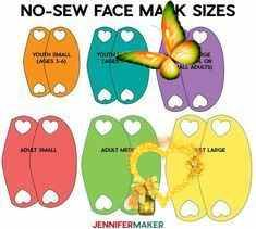 Make a No-Sew Face Mask From a T-Shirt! - Jennifer Maker Six sizes for the no-sew face mask by JenniferMaker<br> Learn how to make a SUPER EASY & COMFY no-sew face mask from an old T-shirt or even woven cotton fabric. Includes a free printable pattern and full tutorial! Woven Cotton, Cotton Fabric, Old T Shirts, Super Easy, Free Printables, Comfy, Learning, Sewing, Face