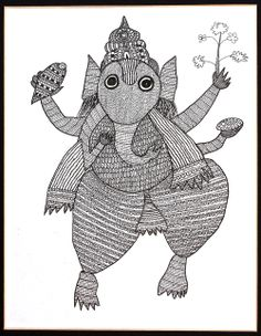 Gond tribal drawing of Ganesh, India. Private Collection.