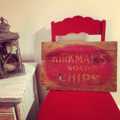 For your laundry room or country cottage Kirkman's soap chips antique wooden sign, nice patina