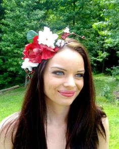 Flower Crown Boho Headband Red and White Flower by RuthNoreDesigns, $55.00