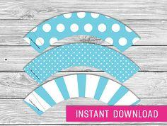 free printable blue cupcake wrappers | Printable Cupcake Wrapper - Blue (instant download, cupcake wrappers ...