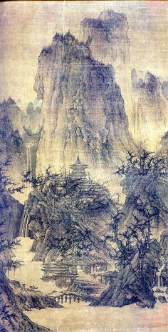 A Solitary Temple Amid Clearing Peaks (晴巒蕭寺圖) Attributed to Li Cheng (李成, 919–967), Five Dynasties period (907-960)  Hanging scroll, ink and light color on silk, 111.8 x 55.9 cm, The Nelson-Atkins Museum of Art, Kansas City, Missouri