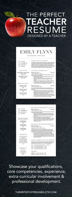 Teacher resume template for Word and Pages (1, 2 and 3 page resume - resume 1 page