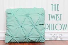 The Twist Pillow-- Free tutorial for a fun smocked throw pillow. | www.makeithandmade.com