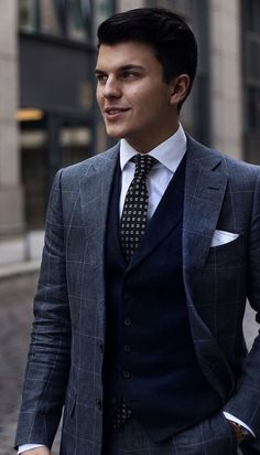 Crisp dapper combo with a navy waistcoat white button up shirt navy polka dot tie gray windowpane suit white cotton pocket square. Mens Fashion Blog, Fashion Mode, Mens Fashion Suits, Mens Suits, Fashion Outfits, Style Fashion, Gentleman Mode, Gentleman Style, Suit Up