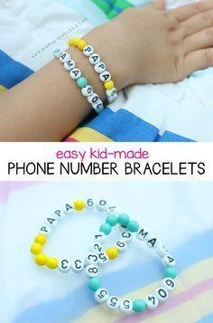 Easy Kid-Made Phone Number Bracelets