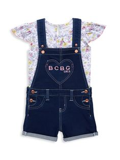 Baby Girl Fall Outfits, Little Girl Outfits, Toddler Girl Outfits, Toddler Girls, Little Girls, Teddy Bear Clothes, Cute Toddlers, Overall Shorts, Floral Tops