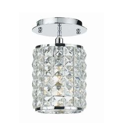 Crystorama Lighting Group 800-CL-MWP Crystal Single Light Pendant from the Chels Polished Chrome Indoor Lighting Ceiling Fixtures Semi-Flush