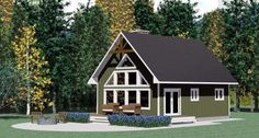 House Plan 90995 | Cabin   Contemporary    Plan with 1011 Sq. Ft., 3 Bedrooms, 1 Bathrooms