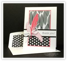 October 13, 2014 Simple Stampin: Stampin' Up! Four Feathers, Big News, Back To Black dsp, Envelope Liners Framelits Die