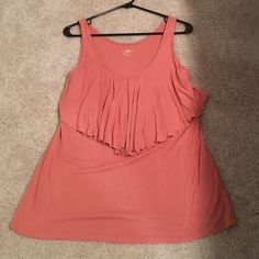 Loft Ruffle Tank Coral colored riffle tank. Worn once, small hole on bottom front. LOFT Tops