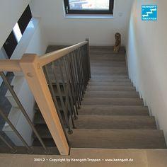 Freitragende KENNGOTT TREPPE Verdi, Stufen Eiche Trendline Longlife  Rutschhemmung R9. Runder, Griffsicherer