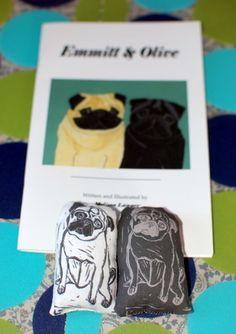 Pug dolls & childrens' book set by Melissa Langer.  http://pugnotes.etsy.com
