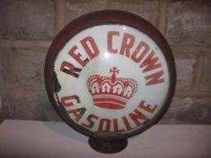 Early Standard Red Crown Gas Pump Globe