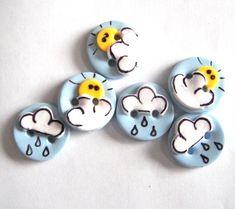 Button Hello Sunshine handmade polymer clay buttons ( 6 )