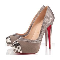 Christian Louboutin Elefante Pewter Maggie 140mm Pumps ($199) ❤ liked on Polyvore