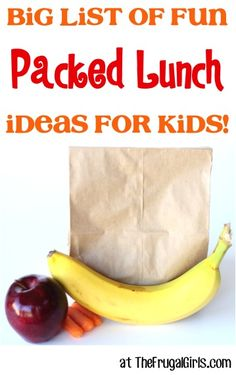 Big List of Fun Packed School Lunch Ideas for Kids! ~ from TheFrugalGirls.com - everything your kids will love in their lunches! #lunchboxes #thefrugalgirls