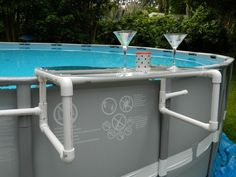 DIY Pool shelf for your above ground pool. I built this on a 25' round Intex pool. You can, as shown in video, customize it to fit your pool.