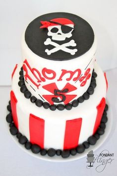 Pirate Birthday Cake. Possibly change the red to Hot Pink? But a simple cake, perfect!