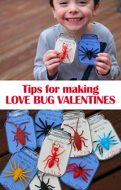 Tips for making love bug valentines using mason jar printable (found on Pinterest) + dollar store bugs. Perfect for a little boy! #valentines #diy #kidcrafts